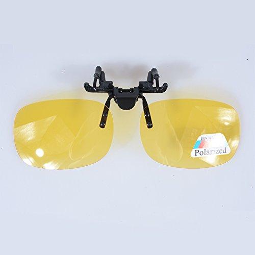 elegantstunning Polarized Glasses Day Night Vision Driving Sunglasses  Clip-on Flip-up Lens Yellow 8d53eb535ef0