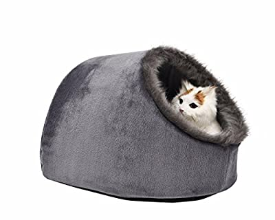 VERTAST Cat Small Dog Cosy Bed Pets Igloo Bed Hideout Cave, Cushion Washable
