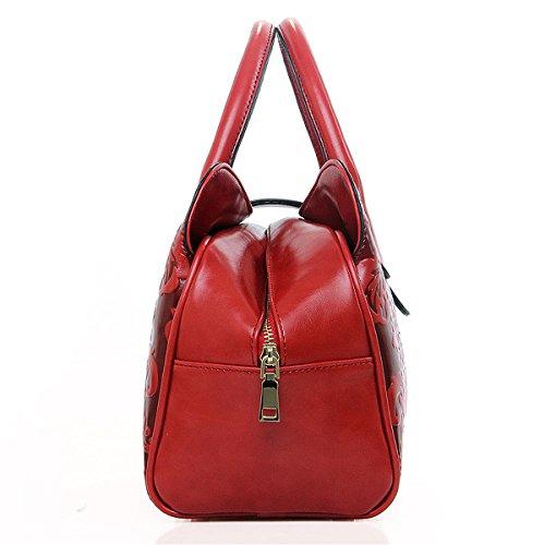 Jieway, borsetta a mano da donna, goffrata, stile classico, in poliuretano, stile cinese rosso