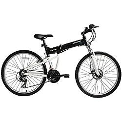 """ECOSMO 26AF18BL - Bicicleta plegable con ruedas de 26"""" MTB, marco de aluminio, cambios Shimano"""
