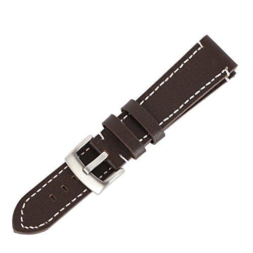 Qlan Echtes Leder Vintage Style Uhrenarmband Herren Edelstahl Schnalle
