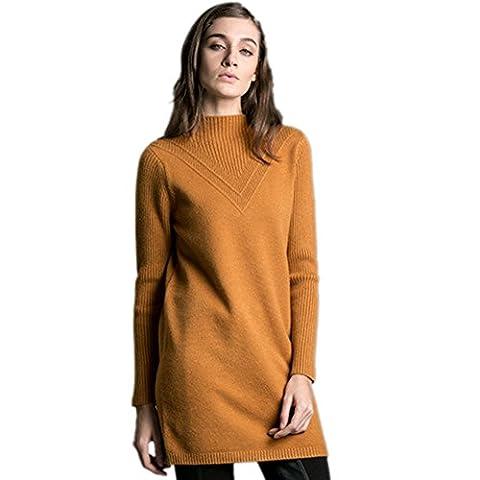 Insun Women's High Neck Tunics Knit Pullover Long Winter Sweater Dress Khaki