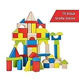 B&Julian  Spielzeug Holzbausteine groß 75 TLG. Bauklötze aus Holz Kinderspielzeug Natur Bunte Holzspielzeug Bausteine für Kinder Baby ab 18 Monate