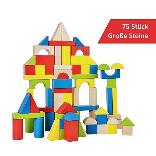 B&Julian ® Spielzeug Holzbausteine groß 75 TLG. Bauklötze aus Holz Kinderspielzeug Natur Bunte Holzspielzeug Bausteine für Kinder Baby ab 18 Monate