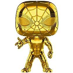 Funko- Pop Bobble Marvel Studios 10: Iron Spider (Chrome) Figura Coleccionable, (38482)
