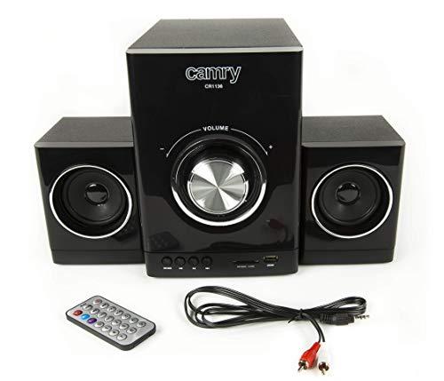Camry CR1136 Stereoanlage (Kompaktes Design, HiFi 2.1, Sound-System, Radio, USB, SD-Karte) Schwarz (Camry Subwoofer)