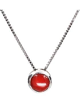 Handgearbeitet Sterling Silber Retro Stil Rot Koralle Anhänger Halskette 18