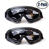Yithings Occhiali da Sci, 2 Pezzi Occhiali da sc Snowboard Moto Scooter Occhiali da Sci con UV400 Protezione da per Bambini, Giovani, Uomini e Donne (Gray)
