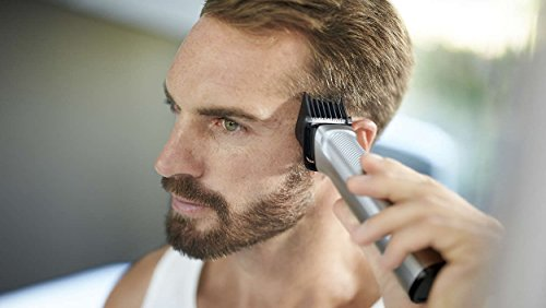 Philips Barbero MG7720/15 - Recortador de barba y precisión 14 en 1 tecnología Dualcut, autonomía de 120 minutos, batería, negro, plata