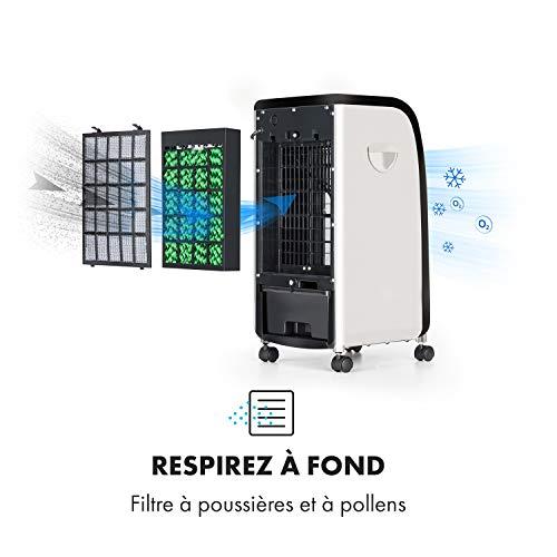 OneConcept CarribeanBlue Fresh Blue Editoin • Rafraîchisseur d'air • 3 en 1 • Ventilateur 3 Vitesses • Réservoir d'eau de 4L • Faible consommation • Jusqu'à 400m³ • Noir-Bleu