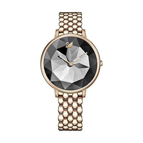 Swarovski Damen-Armbanduhr Analog Quarz One Size, anthrazit, Gold