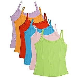 BODYCARE Pure Cotton Plain Multi-Coloured Slip for Girls & Kids (80C-Packof6)
