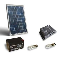 Kit Solar Votivo 10W Placa fotovoltaico Batería 12Ah 12V Controlador de carga