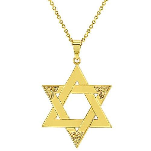 In Season Jewelry 18K Vergoldet Religiöse Judentum Jüdischen Stern von David Halskette Anhänger 48,3cm