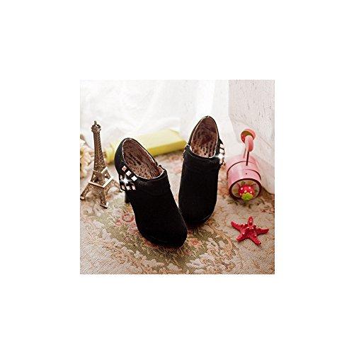 OCHENTA Femme Bottines Talon Haut Suedine Fermeture Eclair Noeud Bottes Cheville boots Noir
