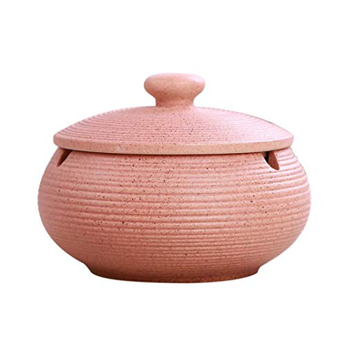 Steellwingsf-Home Office tragbare Mode Runde Keramik Topf Zigarette Aschenbecher Halter mit Deckel - rosa