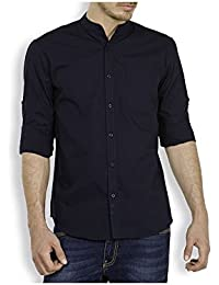 Urbano Fashion Navy Blue Solid Casual Shirt for Men