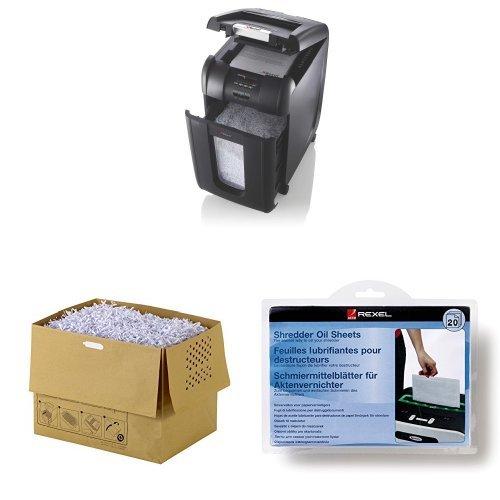 Rexel Auto+ 300M Büro-Aktenvernichter + Abfallsäcke + Schmiermittelblätter - Set