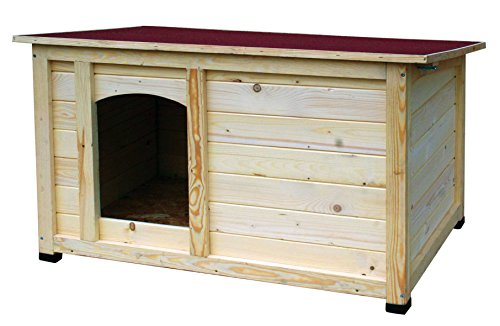 """dobar 55014FSC Hundehütte \""""Lord\"""", XL Outdoor Hundehaus für große Hunde, Platz für Hundebett, wetterfest imprägnierte Hundehöhle, Dach mit Aufstellvorrichtung, 120x75x70 cm, 35kg Holzhütte"""