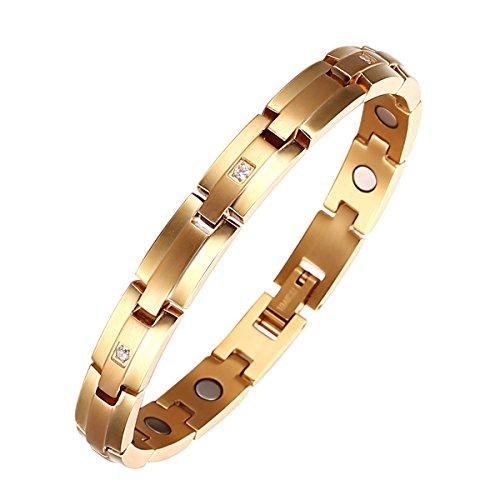 Moocare Damen Gold überzogene Magnetarmband titan einstellbare Gesundheit Gliederarmband mit Zirkon Stein und Link-Tool zum Entfernen