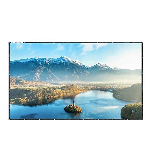 Excelvan - 100 Zoll Zusammenklappbar Beamer Leinwand für Beamer Projektor (100 Zoll, 16:9 Format, mit hängendem Loch, HD, Heimkino, Klassenzimmer, Konferenz, Präsentation, Outdoor)