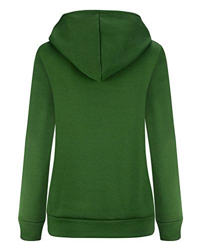 Brinny Automne Hiver Femme Mode Coat Glissière Latérale Sweat-shirt Hoodies Manteau Multi-couleur et Multi-taille Vert