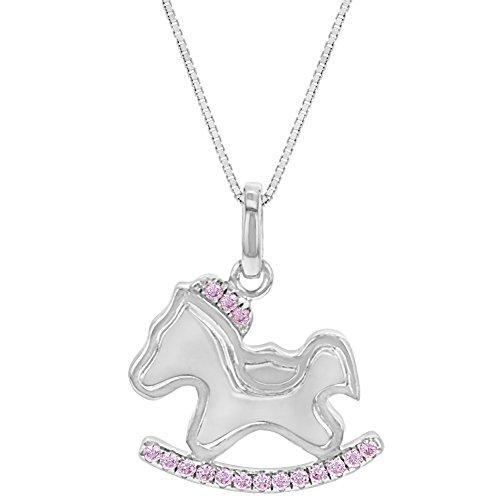 In Season Jewelry Mädchen - Halskette Schaukel Pferd Ohrringe 925 Sterling Silber Rosa CZ Zirkonia 40cm Kind Pferd Rocking