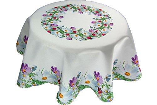 entzückende pflegeleichte Tischdecke rund 130 cm Blumenwiese Frühling Sommer Motivdruck Polyester Sommerdecke Gartendecke Gartentischdecke (Tischdecke rund 130 cm)