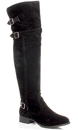 Femmes talon bas boucle bottes de cheval dessus du genou cuissardes pointure Daim noir