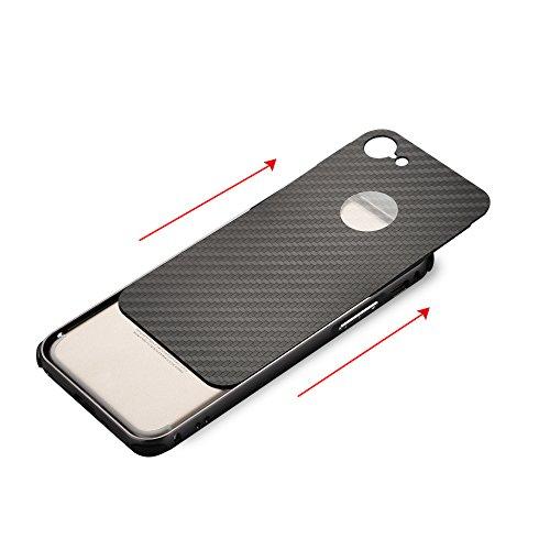 UKDANDANWEI Apple iPhone 8 Coque,Ultra-Mince Fibre de carbone Aluminium Métal Frame Plating Bumper Etui Housse Peau PC Couverture Hard Case Cover Arrière Protecteur pour Apple iPhone 8 - Noir Gris