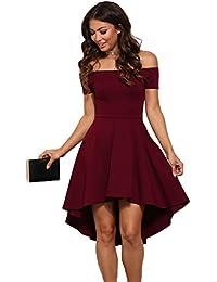 1eb97f4295da abito cerimonia da donna mini abito vestito damigella elegante festa scollo  barchetta