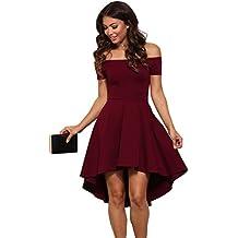 00a828b01b74 abito cerimonia da donna mini abito vestito damigella elegante festa scollo  barchetta