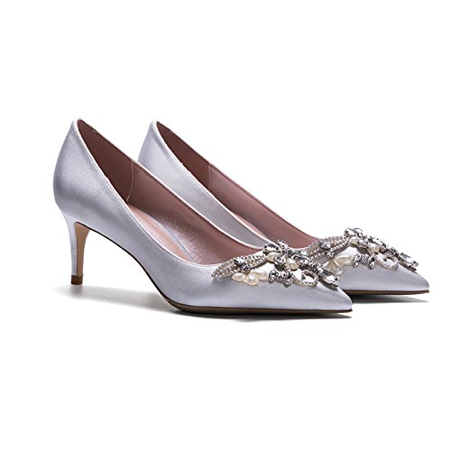 YIXINY Escarpin LH-2885 Chaussures Femme Soie + PU Incrusté À La Main Perle Strass Amende Talon Pointu La Bouche Peu Profonde Mariage Talons Hauts Argent