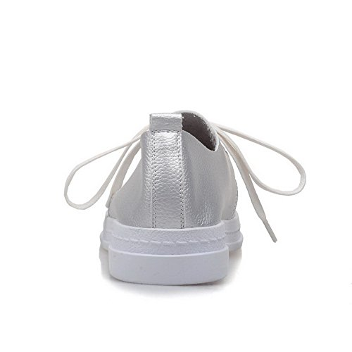 AgooLar Femme à Talon Bas Couleur Unie Lacet Rond Chaussures Légeres Argent