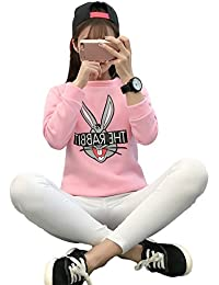 HENGSONG Femmes Hiver Cartoon Lapin Chandail Epais Pull Couverture Sweat-shirts (XL, Rose)