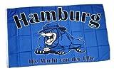 Flagge Fahne Hamburg Bulldogge Fan 90 x 150 cm FLAGGENMAE®