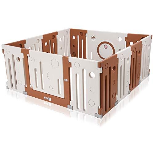 Gelb//Rot//Blau LCP Kids XL Baby Laufgitter Laufstall mit T/ür und 12 Seitenteilen aus Kunststoff Krabbelpark erweiterbar; Farbe