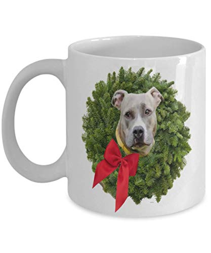 Fawn Colored Pitbull in Xmas Wreath with Red Bow Coffee Mugs, Christmas Gift for Kids, Husband, Wife, Grandma, Grandpa, Dad, Mom, Sister, Brother, Son -