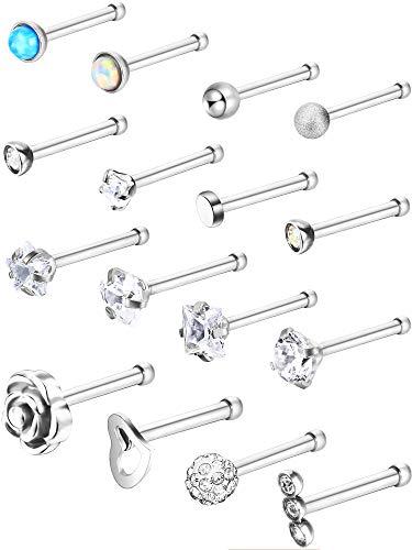16 Stück Edelstahl Nase Stud Set Stahl Nasenring Rose Ball Labret Körper Piercing Schmuck, 20 G (Knochen Stud) (Körper-schmuck Für Piercing)