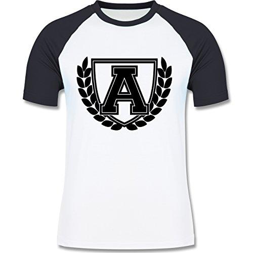 Anfangsbuchstaben - A Collegestyle - zweifarbiges Baseballshirt für Männer Weiß/Navy Blau