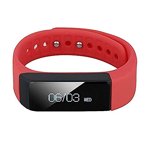 Arvin Sports Detachable Bluetooth 4.0 intelligent Wristband Band Smart Bracelet Watch Call Reminder Sleep Health Monitor Fitness Tracker Activity Pedometer Band for Android,IOS Phone, 3 Colors Available(Red - Fits for Wrist: 14CM/5.51