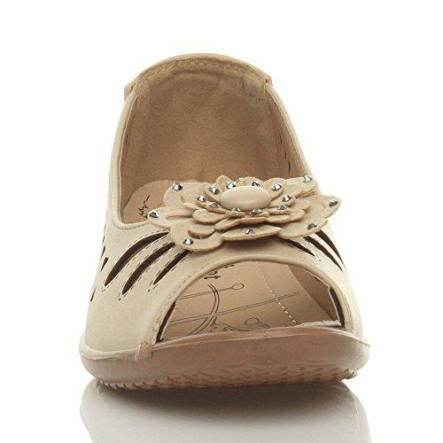 Damen Klein Keilabsatz Ausgeschnitten Komfort Peep Toe Sommerschuhe Sandalen Beige