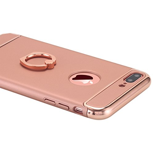 iPhone 7Plus Tablet, iPhone 7Plus Case, lontect Ultra Slim Thin 3in 1Hard Case manico non beleg superficie opaca Galvani Telaio con anello rotante di 360° supporto stand spazio per Apple iPhone 7 Rose Gold