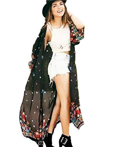 Uniquestyle Damen Sommer Kimono Cardigan Strand Chiffon Bluse Tops Boho Bikini Cover Up Schwarz One Size -