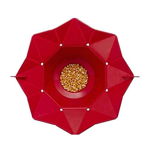 WPCBAA Bol en Popcorn en Silicone Vert Rouge Accueil Micro-Ondes Pop Maker Bowl Bowl (Couleur : Rouge)