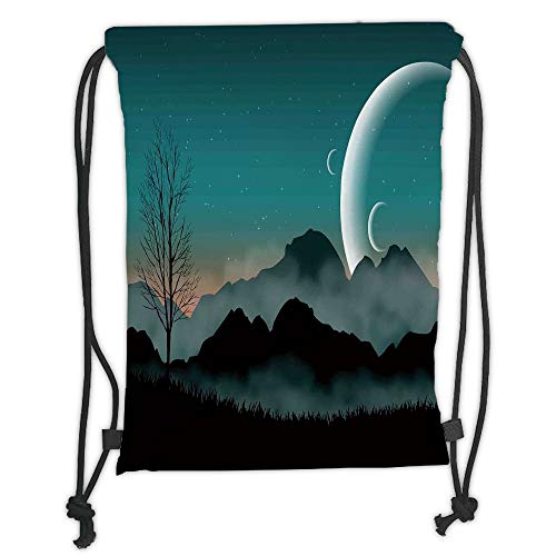 OQUYCZ Drawstring Sack Backpacks Bags,Space,Night Sky on Mountain Range Forest Crescent Moon Star Cosmic Infinity Astral Graphic,Teal Black Soft Satin,5 Liter Capacity,Adjustable String Closur (Halloween Space Mountain)