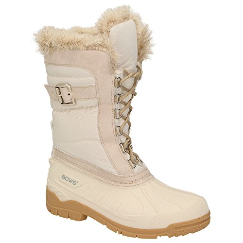 BOWS® -SUSI- Damen Schnee Stiefel Snow Schuhe Winterboots gefüttert wasserdicht wasserabweisend , Schuhgröße:41, Farbe:beige