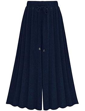 Guiran Pantalones Palazzo Fluido Casual Pantalones Fiesta Cintura Elástica Pantalones Tallas Grandes