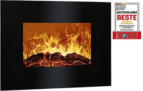Bomann EK 6020 CB Elektrischer Kaminofen mit Flammensimulation und Heizlüfterfunktion, Multifunktionsdisplay, Steuerung per Fernbedienung, Wandmontage, schwarz