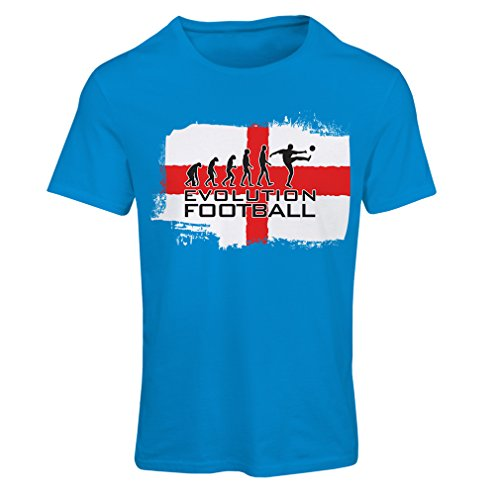 Frauen T-Shirt Die Evolution des Fußballs - Englands, Meisterschaft von Russland 2018, Weltpokal - englisches Fußballmannschaftsfanhemd (Small Blau Mehrfarben) -